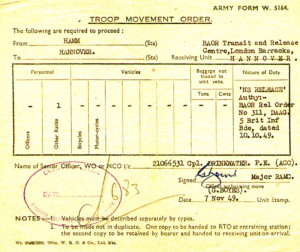 A troop movement order with instructions to proceed from Hamm to Hannover on the same date.