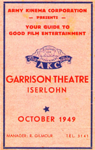The front of a film guide for the Iserlohn Garrison Theatre in October 1949