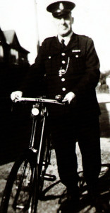 PC Samways, Susan's Great Uncle George, outside the police house in West Moors in 1950.