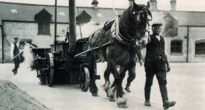 Resurfacing with the help of a horse and a coke fire mobile boiler.