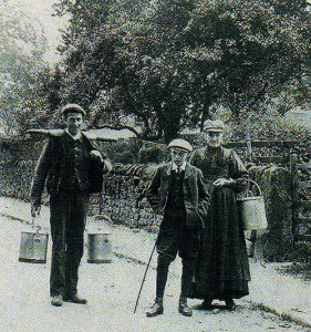 When the pace of life seemed more calmer than today. In the village street where the author grew up and continues to live, a neighbour complete with yoke and pails sets off to milk his cows.