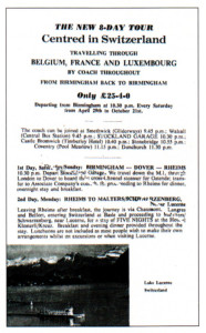 An 'all-in' eight-day Swiss tour for just over £25 in 1967!