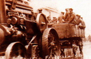 Haulage by traction engine for mobilisation in Preston Street, Faversham, Kent, in August 1914.