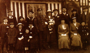 The Boxing Day wedding party at a farmhouse in Selling in 1918. The bride's father is missing- in war as well as peace the cows had to be milked!
