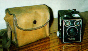 Irene Purslow's faithful Box Browenie camera and bag... purchased in 1953.