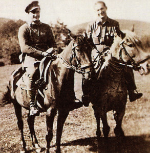 Ernest Purdy (right) with a Partisan during their time setting up resistance groups in German-occupied Hungary.