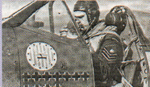 F. Sgt Mieczyslaw Popek, whose 303 Sqn. Spitfire downed one of the Junkers. The iron cross seen on the side of his aircraft had been attached to one of the Junkers.