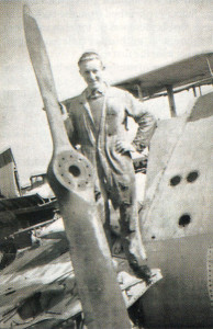 Brian Simpson holding the propeller from a Sea Walrus at Eastleigh in 1949- his overalls had rotted away with battery acid!