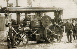A family-owned traction engine depicting two brothers of Sally Jobson's paternal grandfather.