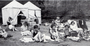 Campers on the beach outside Shanklin around 1934. The author's mother and much younger brother are on the right.