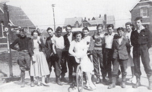 The Totton Tigers at the Northam Warriors' track in 1950. From left are Merv. Francis, Ann Martin, 'Killer' Kemp, Rob Datleen, the uniter, Ken Francis, Dave Porter, Mason Rees, Buzz Terry, Joyce Doggrell and Keith Humby.