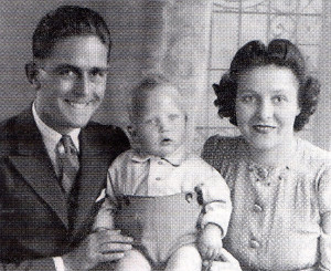 John and Grace Cole with their fust born, Martin, in 1943.