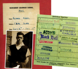 The front of Dick's journal with his stamped youth hostel card - and Dick himself