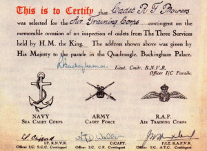 Roger's certificate to mark his selection as one of the ATC contingent