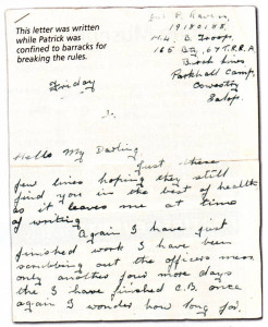 This letter was written while Patrick was confined to barracks for breaking the rules.
