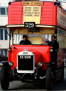 This bus dating from 1925 shows the type of open cab that Bob's father had to up with.