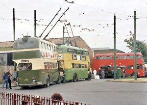Various trolley buses at the Black Country Living Museum.