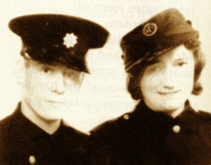 Bill and Minnie Somerville on their wedding day in their Fire Service uniforms.