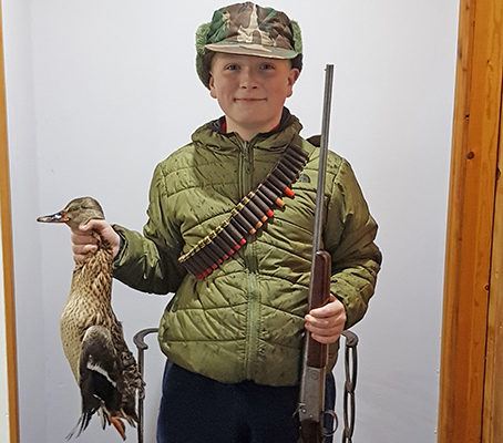 Harry Naylor with his first mallard, using his grandad's .410