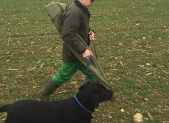 Alfie walking to his peg in beaters day
