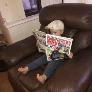 Two year old Heath Edwards enjoying a read